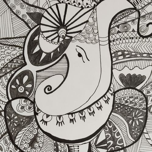 lord ganesha, 8 x 12 inch, bhavya bathla,drawings,paintings for dining room,paintings for living room,paintings for bedroom,paintings for office,illustration drawings,paintings for dining room,paintings for living room,paintings for bedroom,paintings for office,drawing paper,ink color,mixed media,pen color,pencil color,8x12inch,GAL01055920652