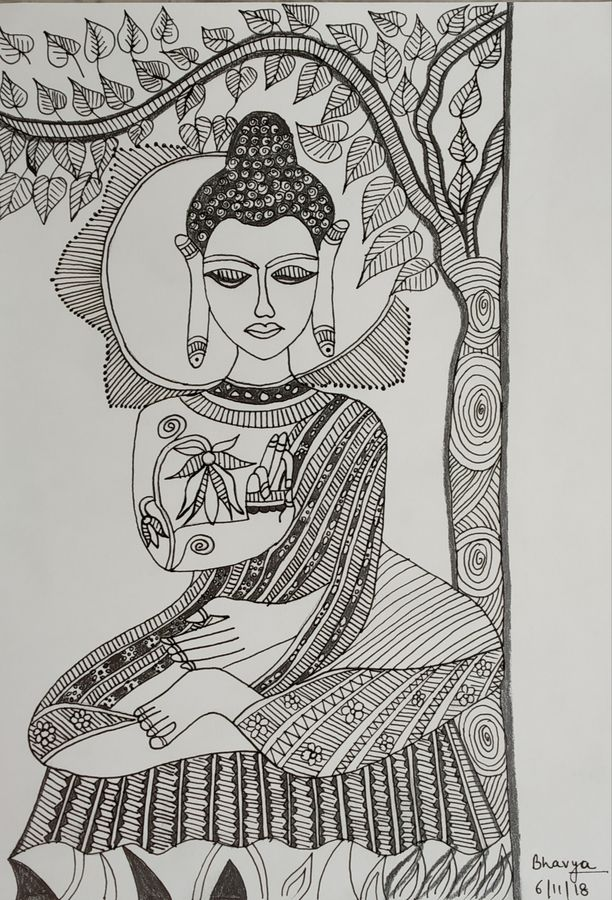 lord buddha, 8 x 12 inch, bhavya bathla,drawings,buddha drawings,paintings for dining room,paintings for living room,paintings for office,paintings for hotel,drawing paper,ink color,pen color,pencil color,8x12inch,GAL01055920653