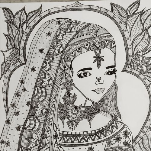 indian bride, 8 x 12 inch, bhavya bathla,drawings,fine art drawings,drawing paper,ink color,pen color,pencil color,8x12inch,GAL01055920654