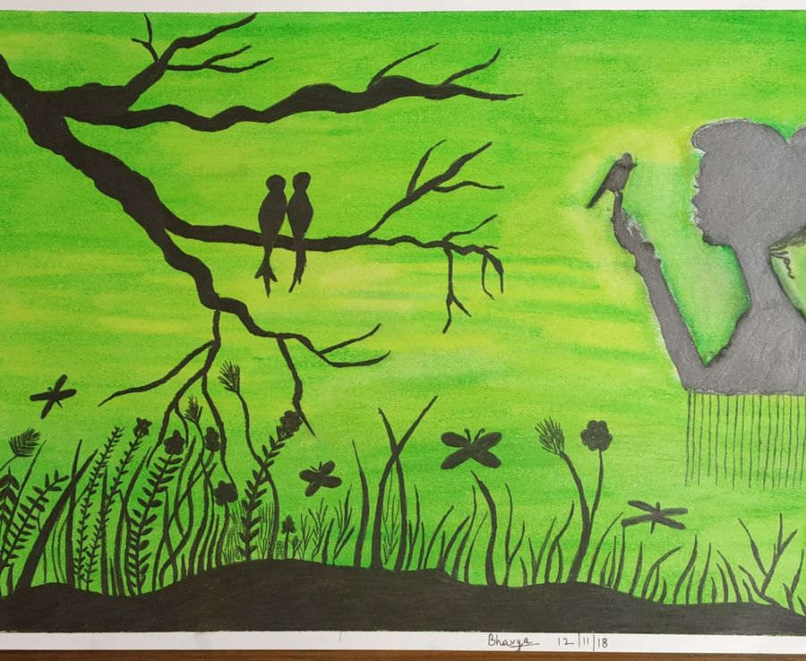 beauty of nature, 12 x 17 inch, bhavya bathla,paintings,nature paintings,paintings for dining room,paintings for living room,paintings for bedroom,paintings for kids room,paintings for school,drawing paper,pastel color,graphite pencil,12x17inch,GAL01055920655Nature,environment,Beauty,scenery,greenery