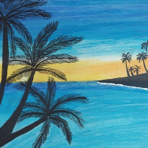 a sunset landscape, 8 x 12 inch, bhavya bathla,paintings,nature paintings,paintings for dining room,paintings for living room,paintings for bedroom,paintings for kids room,drawing paper,pastel color,8x12inch,GAL01055920656Nature,environment,Beauty,scenery,greenery,trees,water,beautiful,leaves,flowers,coconut tree