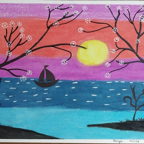 beautiful sunset with trees , 12 x 17 inch, bhavya bathla,paintings,nature paintings,paintings for dining room,paintings for living room,paintings for bedroom,paintings for office,paintings for hotel,drawing paper,mixed media,pastel color,12x17inch,GAL01055920657Nature,environment,Beauty,scenery,greenery