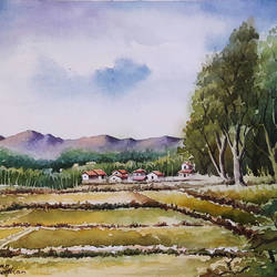 watercolour landscape painting, 15 x 11 inch, amjad ali khan pathan,paintings,landscape paintings,nature paintings,handmade paper,watercolor,15x11inch,GAL0860820659Nature,environment,Beauty,scenery,greenery