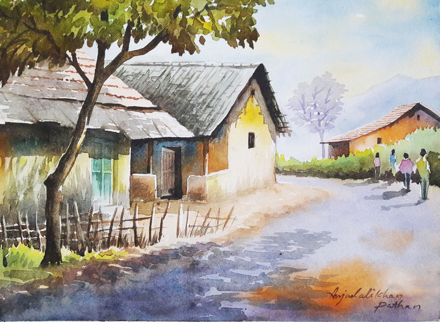 Buy Watercolor Landscape Paintings Painting At Lowest Price By Amjad Ali Khan Pathan