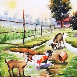 watercolor landscape paintings, 11 x 15 inch, amjad ali khan pathan,paintings,landscape paintings,nature paintings,animal paintings,paintings for dining room,paintings for living room,paintings for bedroom,paintings for bathroom,paintings for kids room,paintings for hotel,paintings for school,handmade paper,watercolor,11x15inch,GAL0860820663Nature,environment,Beauty,scenery,greenery
