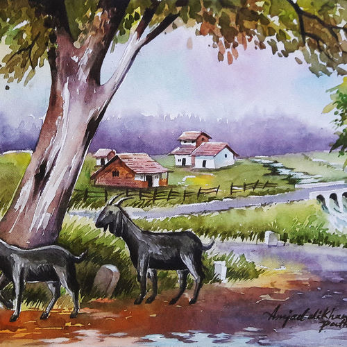 watercolour landscape painting, 15 x 11 inch, amjad ali khan pathan,paintings,landscape paintings,nature paintings,animal paintings,paintings for dining room,paintings for living room,paintings for bedroom,paintings for office,paintings for kids room,paintings for hotel,paintings for school,handmade paper,watercolor,15x11inch,GAL0860820664Nature,environment,Beauty,scenery,greenery