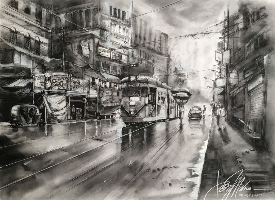 """kolkata eternity 4.2, chariots of the north- in ink, charcoal, graphite and acrylic 36"""" x 24"""", 36 x 24 inch, joydeep mitra,paintings,buddha paintings,figurative paintings,folk art paintings,cityscape paintings,modern art paintings,conceptual paintings,still life paintings,nature paintings,paintings for dining room,paintings for living room,paintings for bedroom,paintings for office,paintings for kids room,paintings for dining room,paintings for living room,paintings for bedroom,paintings for office,paintings for kids room,fabriano sheet,acrylic color,charcoal,ink color,pen color,graphite pencil,36x24inch,GAL0768320665Nature,environment,Beauty,scenery,greenery"""