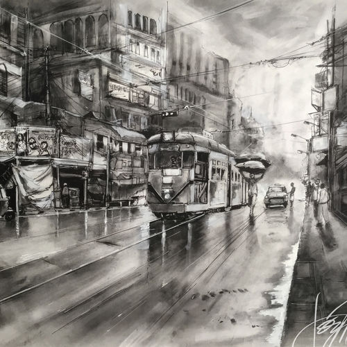 "kolkata eternity 4.2, chariots of the north- in ink, charcoal, graphite and acrylic 36"" x 24"", 36 x 24 inch, joydeep mitra,paintings,buddha paintings,figurative paintings,folk art paintings,cityscape paintings,modern art paintings,conceptual paintings,still life paintings,nature paintings,paintings for dining room,paintings for living room,paintings for bedroom,paintings for office,paintings for kids room,paintings for dining room,paintings for living room,paintings for bedroom,paintings for office,paintings for kids room,fabriano sheet,acrylic color,charcoal,ink color,pen color,graphite pencil,36x24inch,GAL0768320665Nature,environment,Beauty,scenery,greenery"