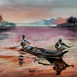 on the evening, 16 x 11 inch, prabhakaran parappur,landscape paintings,brustro watercolor paper,watercolor,16x11inch,GAL0753720666