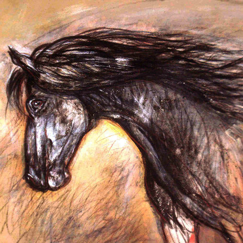 horses, 28 x 18 inch, satyajit chandra chanda,wildlife paintings,paintings for office,animal paintings,horse paintings,paper,charcoal,28x18inch,GAL07502067