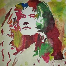 robert plant, 12 x 16 inch, sunitha pissay,paintings,figurative paintings,canvas,acrylic color,12x16inch,GAL01061720673
