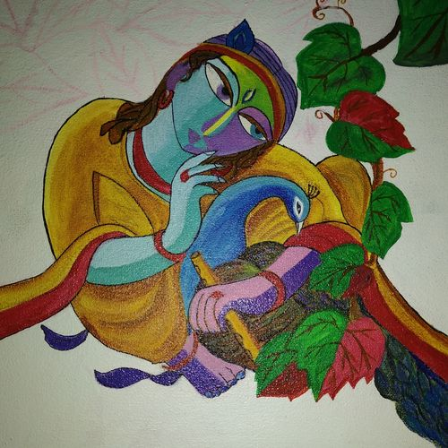 krishna, 12 x 12 inch, sunitha pissay,paintings,religious paintings,canvas,acrylic color,12x12inch,GAL01061720675