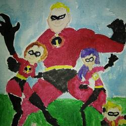 first painting cartoon incredibles, 10 x 12 inch, sunitha pissay,paintings,kids paintings,paintings for bedroom,paintings for bedroom,canvas,acrylic color,10x12inch,GAL01061720676