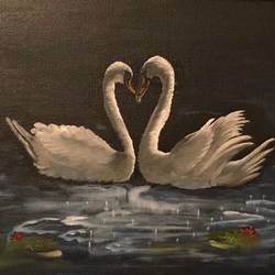 mute swans, 18 x 24 inch, trupti sudheer,animal paintings,paintings for dining room,paintings for living room,paintings for office,paintings for dining room,paintings for living room,paintings for office,canvas,oil,18x24inch,GAL0534820684