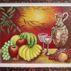 fruits painting, 21 x 18 inch, swarnali mukherjee,paintings,paintings for living room,paintings for bedroom,paintings for living room,paintings for bedroom,conceptual paintings,still life paintings,paintings for dining room,paintings for kitchen,canvas,acrylic color,21x18inch,GAL01064520686