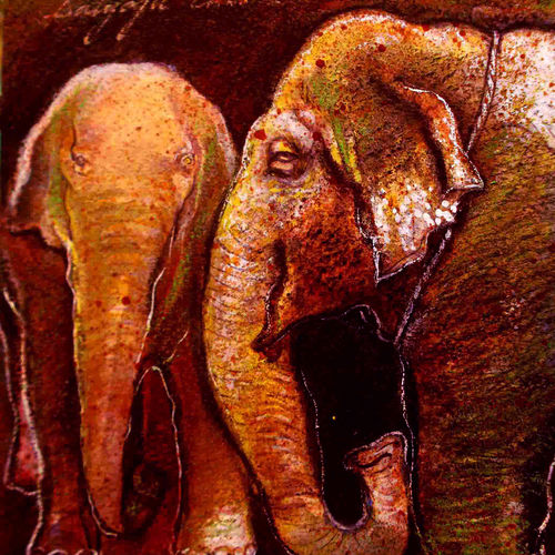 two elephants, 6 x 6 inch, satyajit chandra chanda,wildlife paintings,paintings for office,animal paintings,elephant paintings,handmade paper,mixed media,6x6inch,GAL07502069