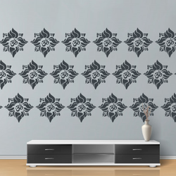 wall stencil: exclusive flower design wall stencil , 1 stencil (size 12x12 inches) | reusable | diy, 12 x 12 inch, wall stencil designs,12x12inch,ohp plastic sheets,flower designs,plastic,GAL0120693,GAL0120693