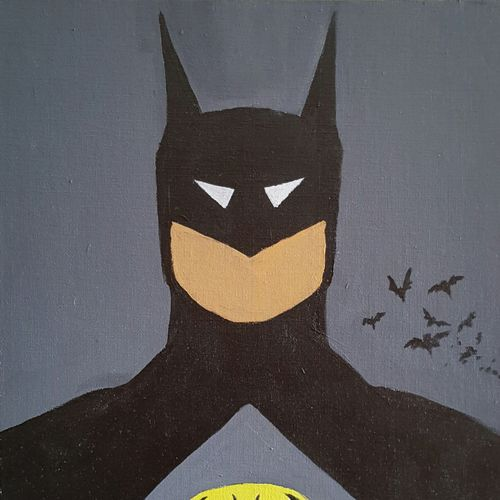 batman popart, 12 x 16 inch, amaey parekh,modern art paintings,paintings for bedroom,canvas,acrylic color,12x16inch,GAL075207