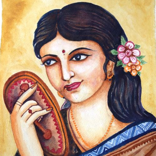 the lady of fortune, 13 x 20 inch, swarnali mukherjee,paintings,figurative paintings,portrait paintings,paintings for living room,paintings for bedroom,paintings for hotel,handmade paper,acrylic color,13x20inch,GAL01064520702