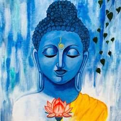 buddha painting, 12 x 13 inch, archana bharath,paintings,buddha paintings,religious paintings,portrait paintings,paintings for living room,paintings for bedroom,paintings for office,paintings for hotel,paintings for school,paintings for living room,paintings for bedroom,paintings for office,paintings for hotel,paintings for school,canvas,acrylic color,12x13inch,peace,meditation,meditating,flower,blue,gautam,goutam,religious,GAL0634920705,peace,lordbuddha,inner,lotus,lordface