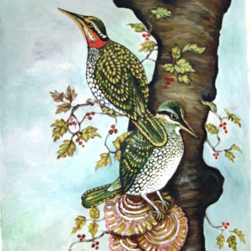 two loving birds in their nest, 12 x 18 inch, swarnali mukherjee,paintings,abstract paintings,wildlife paintings,paintings for living room,paintings for bedroom,paintings for hotel,paintings for living room,paintings for bedroom,paintings for hotel,canvas,oil,12x18inch,GAL01064520708