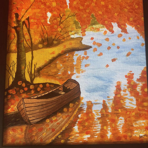a beautiful fall season scenery, 13 x 13 inch, archana bharath,landscape paintings,nature paintings,art deco paintings,realism paintings,paintings for dining room,paintings for living room,paintings for bedroom,paintings for office,paintings for bathroom,paintings for hotel,paintings for kitchen,paintings for school,canvas,acrylic color,13x13inch,GAL0634920709Nature,environment,Beauty,scenery,greenery