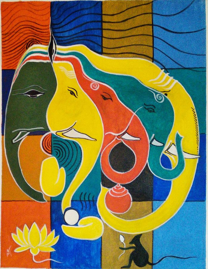 ganesha, 18 x 24 inch, ram mohan e,paintings,abstract paintings,religious paintings,abstract expressionist paintings,illustration paintings,paintings for living room,paintings for office,paintings for hotel,paintings for school,canvas,acrylic color,18x24inch,GAL069720720