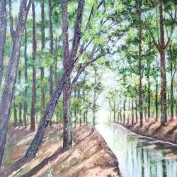 summer landscape painting, 24 x 18 inch, ram mohan e,paintings,landscape paintings,nature paintings,impressionist paintings,paintings for living room,paintings for office,paintings for hotel,paintings for school,paintings for hospital,canvas,oil,24x18inch,GAL069720723Nature,environment,Beauty,scenery,greenery