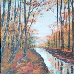 autumn landscape painting , 24 x 18 inch, ram mohan e,paintings,landscape paintings,nature paintings,impressionist paintings,paintings for living room,paintings for office,paintings for hotel,paintings for school,paintings for hospital,canvas,oil,24x18inch,GAL069720724Nature,environment,Beauty,scenery,greenery