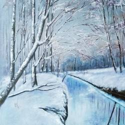 winter landscape painting, 24 x 18 inch, ram mohan e,paintings,landscape paintings,nature paintings,paintings for living room,paintings for office,paintings for hotel,paintings for school,paintings for hospital,canvas,oil,24x18inch,GAL069720725Nature,environment,Beauty,scenery,greenery