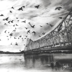 "kolkata eternity 4.3: the bridge of dreams in ink, charcoal, graphite and dry pastels- wide a1 size- 36"" x 24"", 36 x 24 inch, joydeep mitra,paintings,cityscape paintings,expressionist paintings,pop art paintings,contemporary paintings,paintings for dining room,paintings for living room,paintings for bedroom,paintings for office,paintings for bathroom,paintings for kids room,fabriano sheet,acrylic color,ink color,pen color,photo ink,graphite pencil,36x24inch,GAL0768320732"