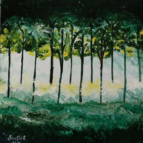 elements of nature - earth, 12 x 12 inch, shruthi rajagopalan,abstract paintings,paintings for living room,canvas,acrylic color,12x12inch,GAL07762074