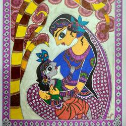 yashoda krishna - madhubani , 12 x 17 inch, ruchi  saxena ,madhubani paintings,paintings for living room,paintings for bedroom,paintings for hotel,paintings for school,paintings for hospital,paintings,folk art paintings,ivory sheet,ink color,pen color,pencil color,12x17inch,GAL01070020743
