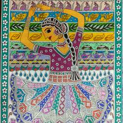 nrityangana - madhubani , 12 x 17 inch, ruchi  saxena ,madhubani paintings,paintings for living room,paintings for bedroom,paintings for hotel,paintings for school,paintings for hospital,paintings,folk art paintings,ivory sheet,ink color,12x17inch,GAL01070020748