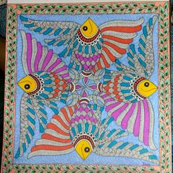 four fishes - madhubani , 12 x 13 inch, ruchi  saxena ,madhubani paintings,paintings for living room,paintings for bedroom,paintings for hotel,paintings for school,paintings for hospital,paintings for living room,paintings for bedroom,paintings for hotel,paintings for school,paintings for hospital,paintings,folk art paintings,ivory sheet,ink color,12x13inch,GAL01070020750