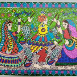 dandia raas - madhubani , 17 x 12 inch, ruchi  saxena ,madhubani paintings,paintings,folk art paintings,paintings for living room,paintings for bedroom,paintings for hotel,paintings for school,paintings for hospital,ivory sheet,ink color,17x12inch,GAL01070020752