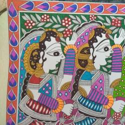 women with flower baskets , 16 x 12 inch, ruchi  saxena ,paintings,madhubani paintings,paintings for living room,paintings for bedroom,paintings for hotel,paintings for school,paintings for hospital,paintings for living room,paintings for bedroom,paintings for hotel,paintings for school,paintings for hospital,folk art paintings,ivory sheet,ink color,16x12inch,GAL01070020753