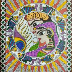 man-woman in sun, 12 x 15 inch, ruchi  saxena ,madhubani paintings,paintings for living room,paintings for bedroom,paintings for hotel,paintings for school,paintings for hospital,paintings,folk art paintings,ivory sheet,ink color,12x15inch,GAL01070020754