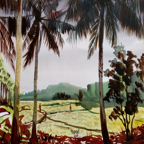 day light, 16 x 11 inch, prabhakaran parappur,paintings,phad painting,paintings for living room,paintings for living room,handmade paper,watercolor,16x11inch,GAL0753720761