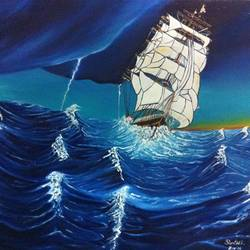 taming the high seas, 24 x 20 inch, shruthi rajagopalan,landscape paintings,paintings for living room,water fountain paintings,canvas,oil paint,24x20inch,GAL07762077