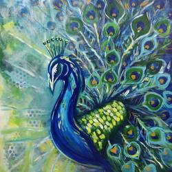 flamboyancy of peacock, 30 x 30 inch, mohi jaya,paintings,nature paintings,canvas,acrylic color,30x30inch,GAL01010920770Nature,environment,Beauty,scenery,greenery
