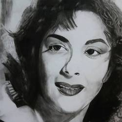 nargis, 20 x 26 inch, renu hujare,drawings,portrait drawings,paintings for living room,drawing paper,charcoal,20x26inch,GAL01070720772