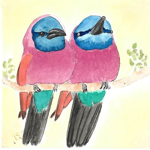 a pair of bright birds, 6 x 6 inch, kadambari pathania,paintings,wildlife paintings,nature paintings,animal paintings,miniature painting.,paintings for dining room,paintings for living room,paintings for bedroom,paintings for office,paintings for bathroom,paintings for kids room,paintings for hotel,paintings for kitchen,paintings for school,paintings for hospital,paintings for dining room,paintings for living room,paintings for bedroom,paintings for office,paintings for bathroom,paintings for kids room,paintings for hotel,paintings for kitchen,paintings for school,paintings for hospital,brustro watercolor paper,watercolor,6x6inch,GAL01022720778Nature,environment,Beauty,scenery,greenery
