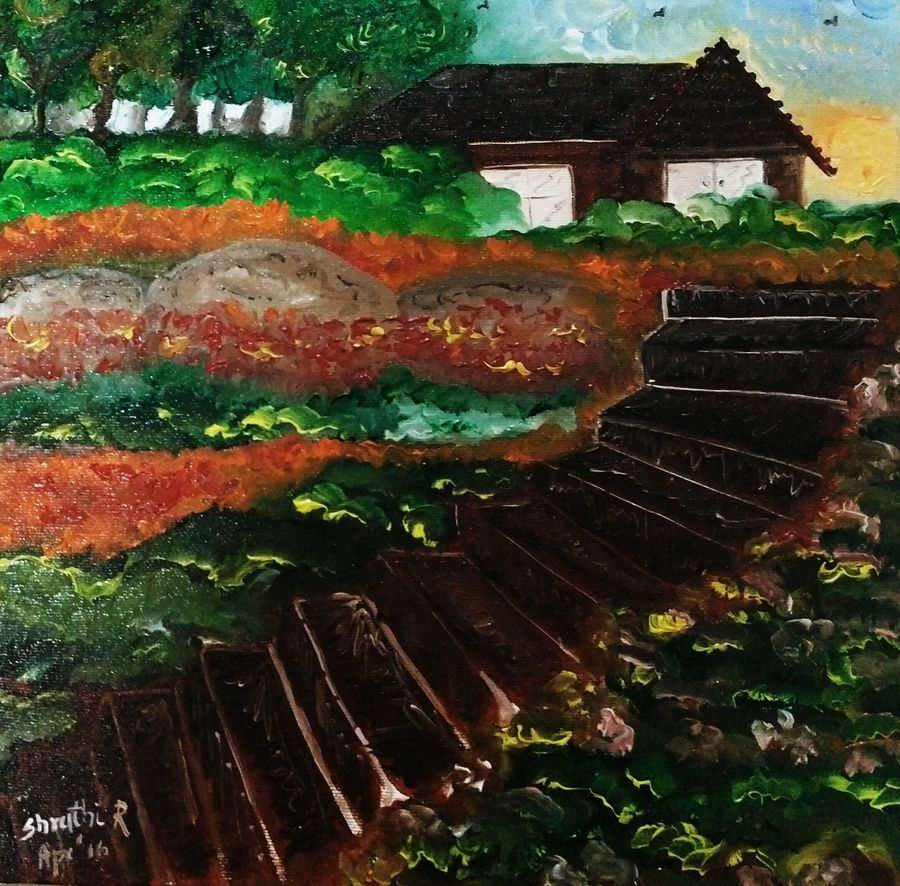 heaven, 12 x 12 inch, shruthi rajagopalan,landscape paintings,paintings for bedroom,canvas,mixed media,12x12inch,GAL07762078