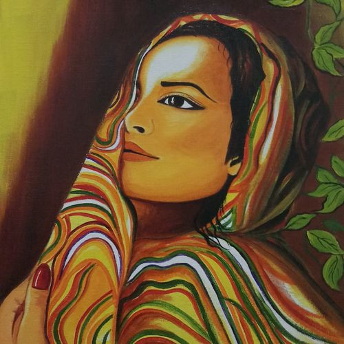 lonely girl in colourful outfit, 12 x 16 inch, sandhya kumari,paintings,portrait paintings,realistic paintings,paintings for dining room,paintings for living room,paintings for bedroom,paintings for office,paintings for hotel,paintings for kitchen,paintings for school,paintings for hospital,canvas board,acrylic color,12x16inch,GAL0365920786