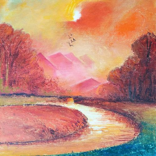 landscape -2 , 10 x 14 inch, a.b.  kaser,landscape paintings,paintings for living room,canvas,acrylic color,10x14inch,GAL06362079