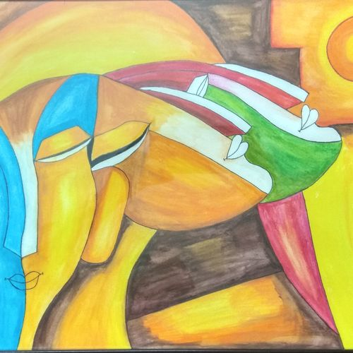 modern abstract three faces , 17 x 12 inch, ruchi  saxena ,abstract paintings,figurative paintings,paintings for living room,paintings for bedroom,paintings for hotel,paintings for living room,paintings for bedroom,paintings for hotel,ivory sheet,pencil color,17x12inch,GAL01070020794