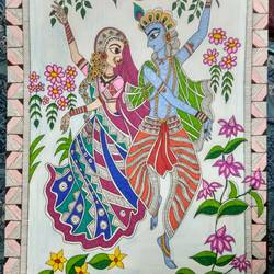 radha-krishna - dance of joy, 12 x 17 inch, ruchi  saxena ,radha krishna paintings,madhubani paintings,paintings for living room,paintings for bedroom,paintings for hotel,ivory sheet,ink color,12x17inch,GAL01070020798,radhakrishna,love,pece,lordkrishna,,lordradha,peace,flute,music,radha,krishna,devotion,couple