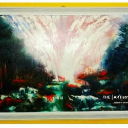 abstract water fall, 36 x 46 inch, meenu rastogi,paintings,abstract paintings,nature paintings,paintings for living room,paintings for living room,canvas,fabric,oil,36x46inch,GAL01050620799Nature,environment,Beauty,scenery,greenery