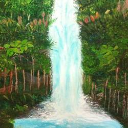 silver cascade, 26 x 36 inch, shruthi rajagopalan,landscape paintings,paintings for bedroom,paintings for dining room,paintings for living room,water fountain paintings,paintings for hotel,canvas,oil paint,26x36inch,GAL07762080